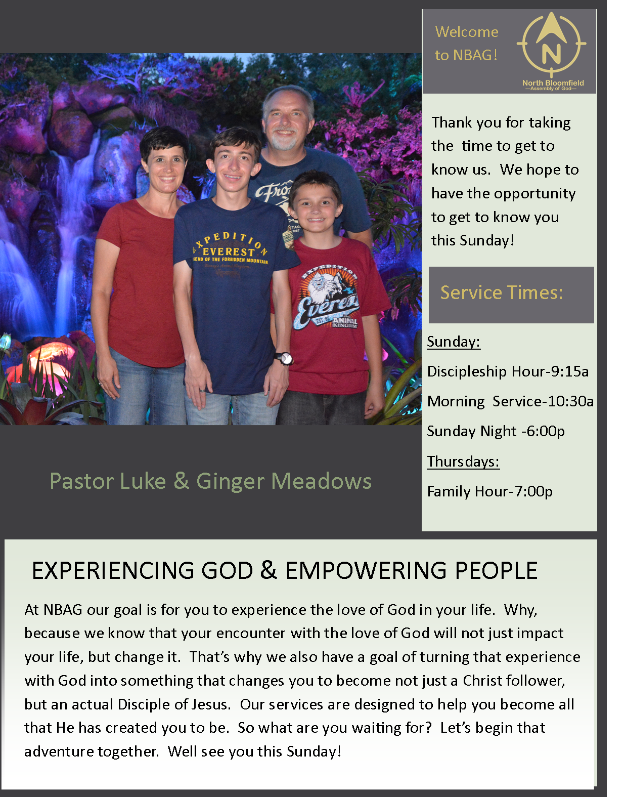 Pastors Welcome page website